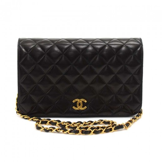 Chanel Vintage Chanel Classic Black Quilted Leather Shoulder Flap ... fd54db4b68