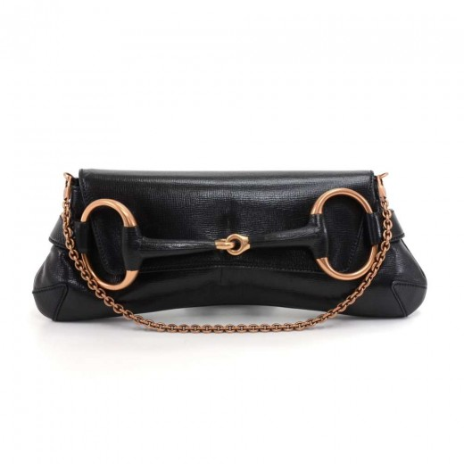 d28f762b8a1 Gucci Horsebit Black Leather Rose Gold Hardware Shoulder Clutch Bag -2003  Limited Ed