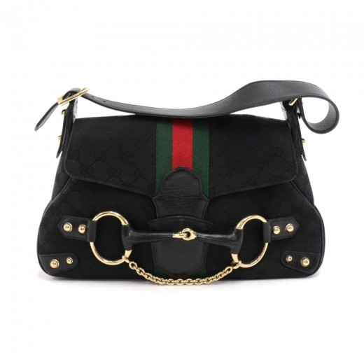 ec71037fb11 Gucci Black GG Monogram Canvas Horsebit Chain Green   Red Web Shoulder Bag-Limited  Ed