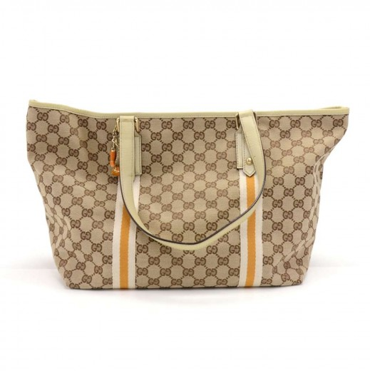 7080bd24bd9 Gucci GG Supreme Beige Monogram Canvas White   Orange Web Tote Bag + Bag  Charm