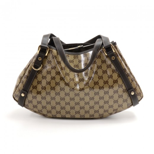 627b25c8b33 Gucci Beige GG Monogram Crystal Coated Canvas   Brown Leather Shoulder Bag