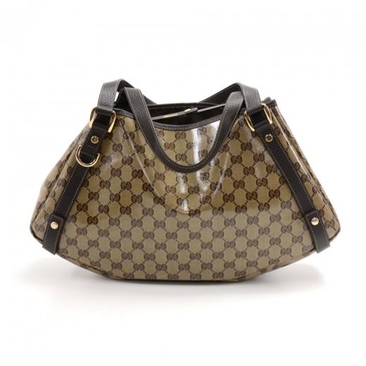 2084dc678ec5 Gucci Beige GG Monogram Crystal Coated Canvas & Brown Leather Shoulder Bag