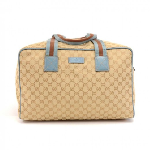3da8829a7e89 Gucci Beige GG Monogram Canvas & Light Blue Leather Duffle Carryall Bag