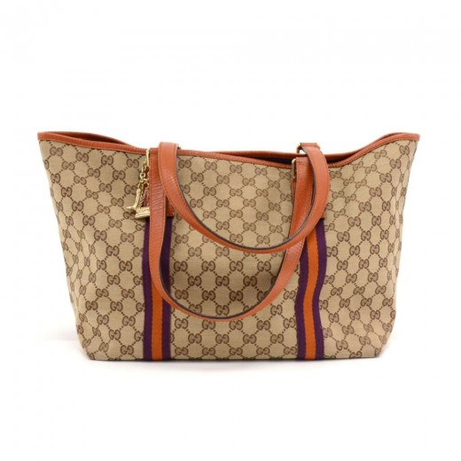 4066f719f83f Gucci Gucci Beige GG Canvas Purple & Orange Web Tote Bag + Bag Charm