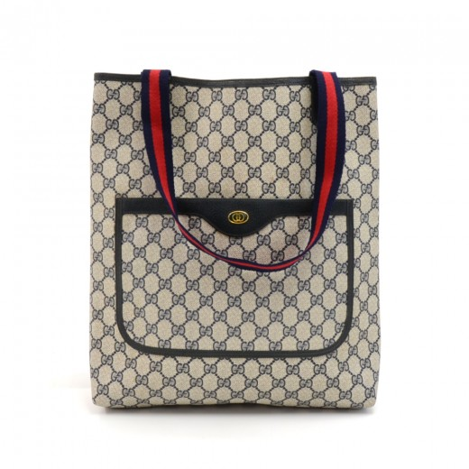 9eaba1a85f Gucci Accessory Collection Navy GG Supreme Monogram Coated Canvas Shopper Tote  Bag