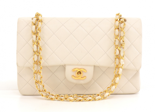 f7644e06b8dc Chanel M29 Chanel 2.55 10inch Double Flap White Quilted Leather ...