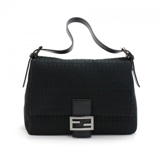 8dca583bb37d FENDI Fendi Forever Mama Black Zucchino Canvas Flap Shoulder Bag