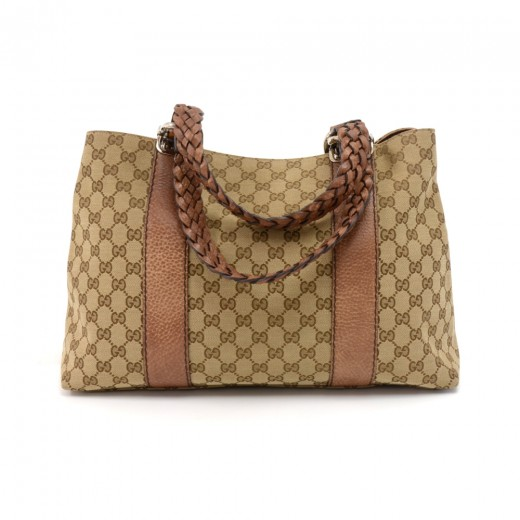 995ecef51 Gucci Gucci Bamboo Bar Beige GG Canvas & Brown Leather Medium Tote ...