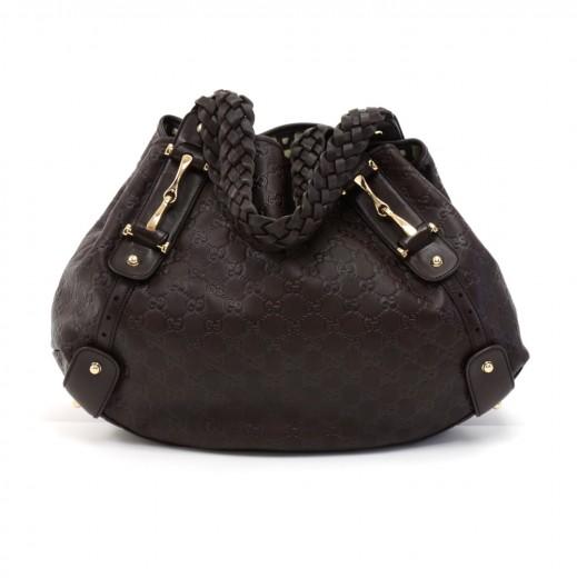 a0d37bd550d7 Gucci Gucci Pelham Dark Brown Guccissima Leather Shoulder Bag