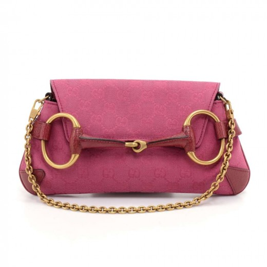 52d5b20ef804b5 Gucci Horsebit Fuchsia Pink GG Canvas & Red Leather Shoulder Clutch Bag