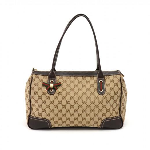 5078601fa196 Gucci Gucci Princy Line Beige GG Canvas & Brown Leather Ribbon Tote ...
