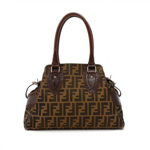 5685b57e8e2f FENDI Fendi Bag De Jour Tobacco Zucca Nylon   Brown Leather Shoulder ...