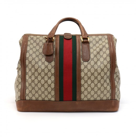 a99527a1411 Vintage Gucci Boutique Beige GG Supreme Coated Canvas   Leather Large  Boston Travel Bag