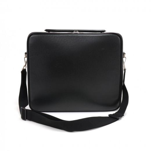 Louis Vuitton Odessa Black Taiga Leather Laptop Briefcase Bag + Strap 1ed3e237939e9