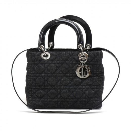 e214bd0a90 Christian Dior Lady Dior Medium Black Quilted Cannage Denim Handbag + Strap