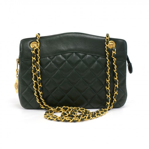 137078a346e26 Chanel Vintage Chanel Green Quilted Lambskin Leather Chain Shoulder ...