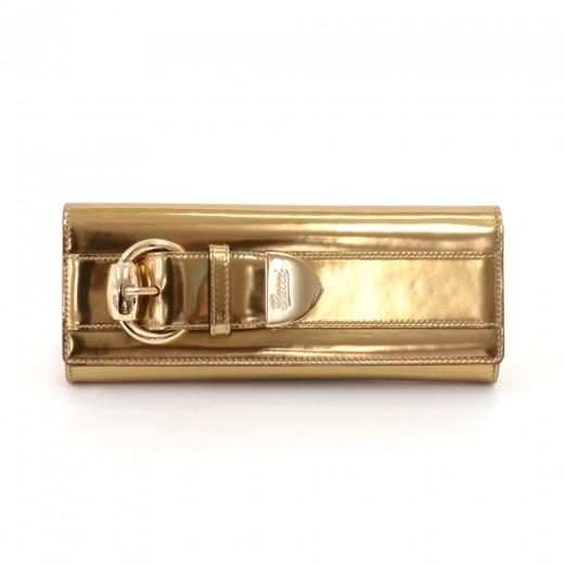 384ed9520dd3e7 Gucci Gucci Romy Buckle Gold Patent Leather Clutch Bag
