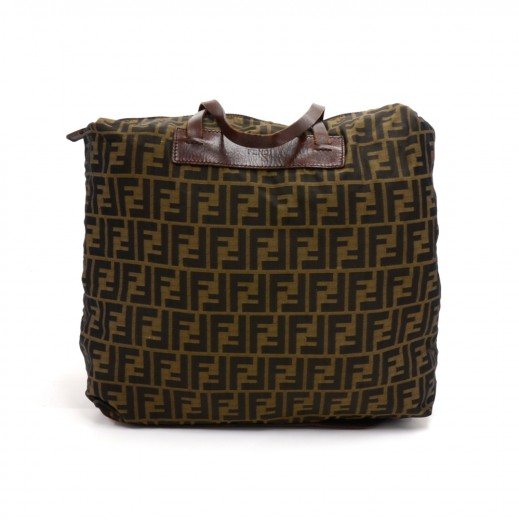 66be4386e6 FENDI Vintage Fendi Tobacco Zucca Nylon x Brown Leather Rollup Tote ...