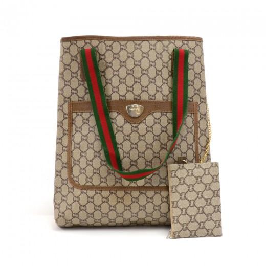 41290333de175 Vintage Gucci Plus Beige GG Plus Coated Canvas Shoulder Tote Bag + Pouch  -Limited