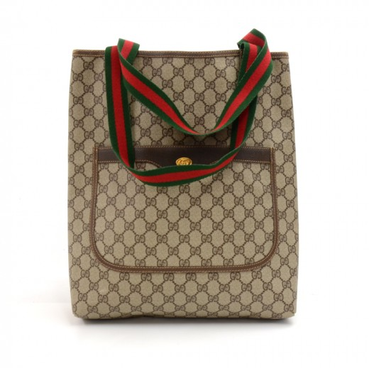 29f828f133df Vintage Gucci Accessory Collection Beige Monogram Canvas Shoulder Tote Bag