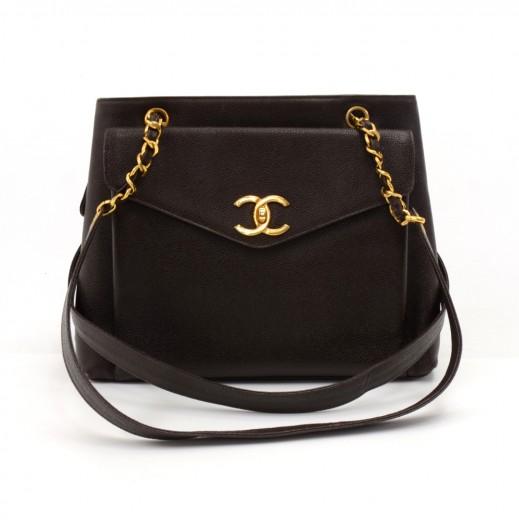 Vintage Chanel Brown Caviar Leather Front Envelope Pocket Chain Shoulder Bag 9ed137561c015