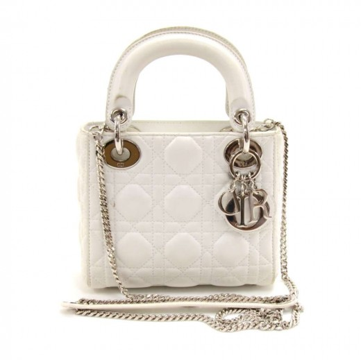 ce8bf4afc19 Christian Dior Lady Dior Mini White Quilted Cannage Leather Handbag + Strap.  Condition: Excellent / SKU: DA067. Tap to zoom