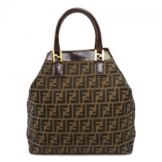 FENDI Vintage Fendi Zucca Monogram Canvas   Brown Leather Tote Bag f3e3193f4d