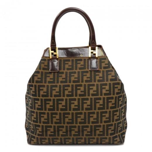 1691ac4feaf1 FENDI Vintage Fendi Zucca Monogram Canvas   Brown Leather Tote Bag