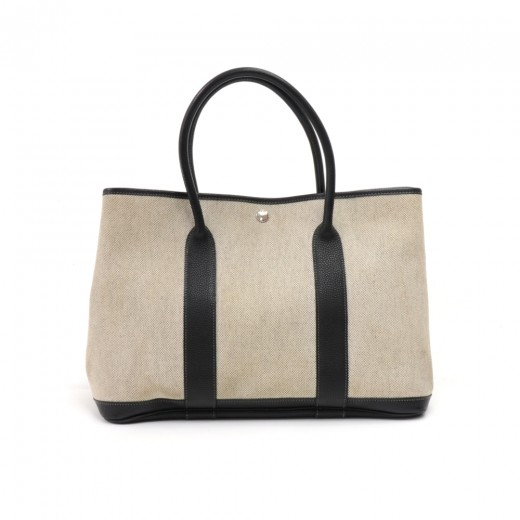 a0fb2cca1f8d Hermes Garden Party MM Black Leather Gray Canvas Tote Bag-Limited Edition  Interior