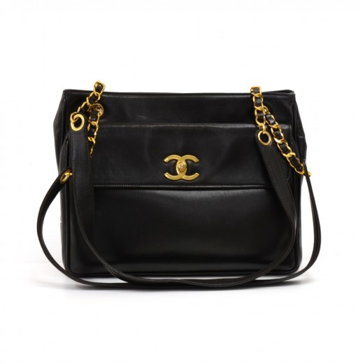 c9a164e04507 Chanel Vintage Chanel Black Lambskin Leather Front Pocket Chain Tote ...