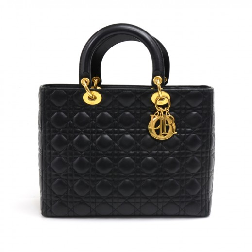 b2dace3bd713 Dior Christian Dior Lady Dior Large Black Quilted Cannage Leather ...