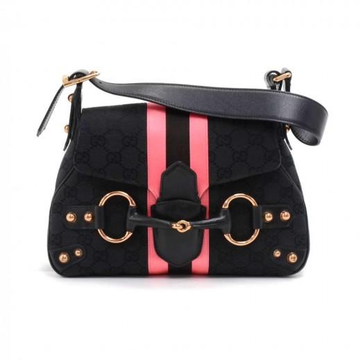 05041fb9b Gucci Black Guccissima Canvas Pink & Black Satin Stripe Horsebit Shoulder  Bag-Limited Ed