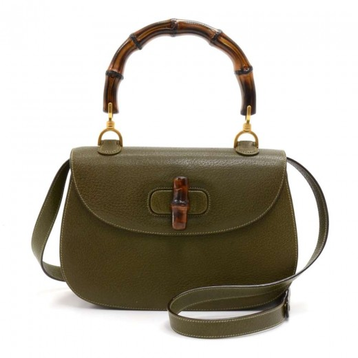 760154136bc Gucci Gucci Bamboo Top Handle Olive Green Pebbled Leather 2 Way Bag