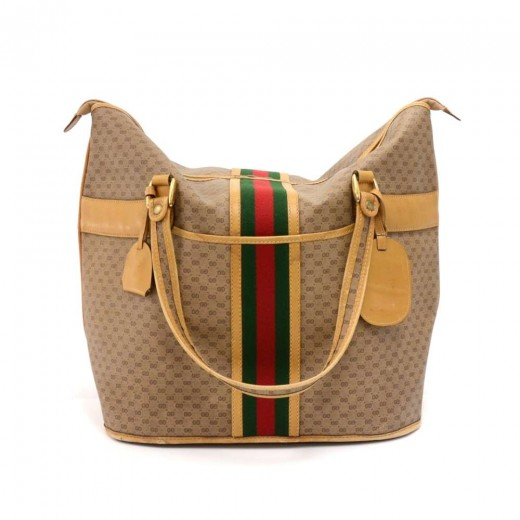 fc918da81be7c Gucci Vintage Gucci Micro GG Supreme Coated Canvas x Leather Large ...