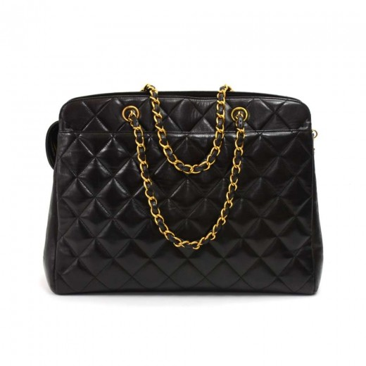 6bd2fa5f1096a6 Chanel Vintage Chanel Black Quilted Lambskin Leather Handbag