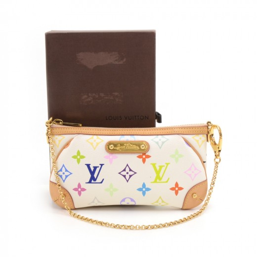 Louis Vuitton Milla Clutch MM White Multicolor Monogram Canvas Shoulder Bag 8961ae7a83837