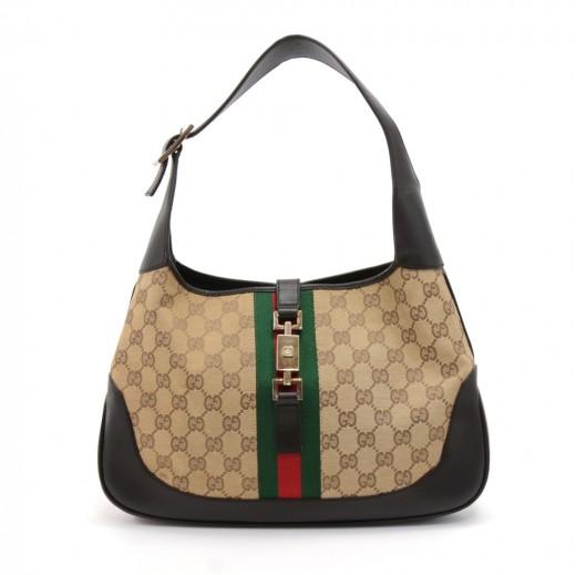 05a50ccb847 Gucci Gucci Jackie Original GG Canvas   Brown Leather Shoulder Bag