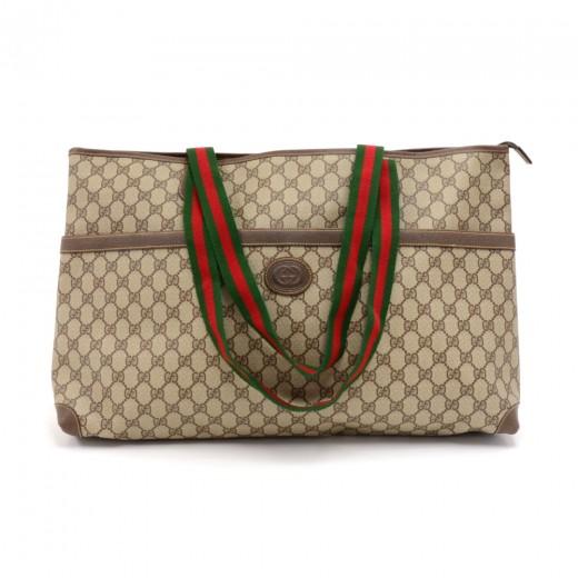 a2f1dee704e Gucci Vintage Gucci Beige GG Supreme Coated Canvas Web XLarge Tote ...