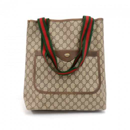 6b19b923b78d3 Gucci Vintage Gucci Accessory Collection Beige GG Supreme Coated ...