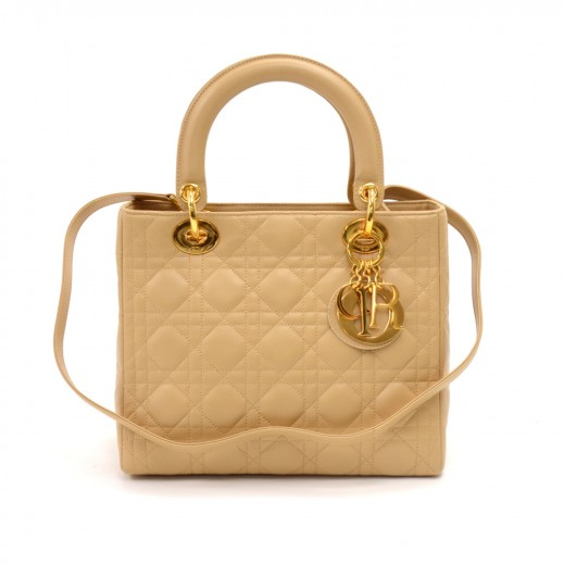bea5016b1bc9 Vintage Christian Dior Lady Dior Medium Beige Quilted Cannage Leather  Handbag + Strap