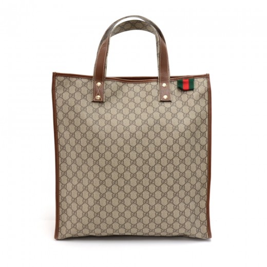 f6f8195961c306 Gucci Beige GG Supreme Coated Canvas x Brown Leather Large Shopping Tote Bag