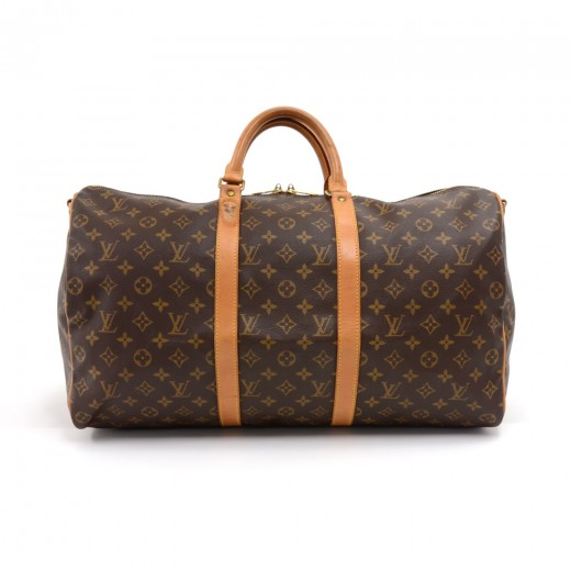 f1f72a813ba3 Vintage Louis Vuitton Keepall 50 Bandouliere Monogram Canvas Duffel Travel  Bag