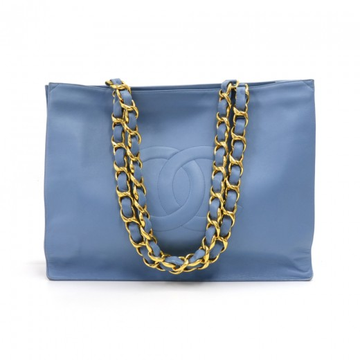 bf454e707d2f Chanel Vintage Chanel Jumbo XL Light Blue Leather Shoulder Shopping ...