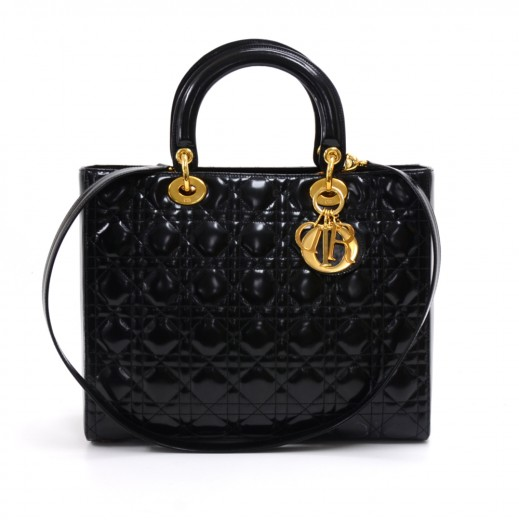 13d9f00baa2e Vintage Christian Dior Lady Dior Large Black Quilted Cannage Patent Leather  Handbag + Strap