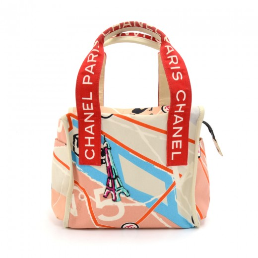 5185366def8c Chanel Paris Map Sequin Eiffel Tower Printed Canvas x White Leather Tote  Bag-Rare