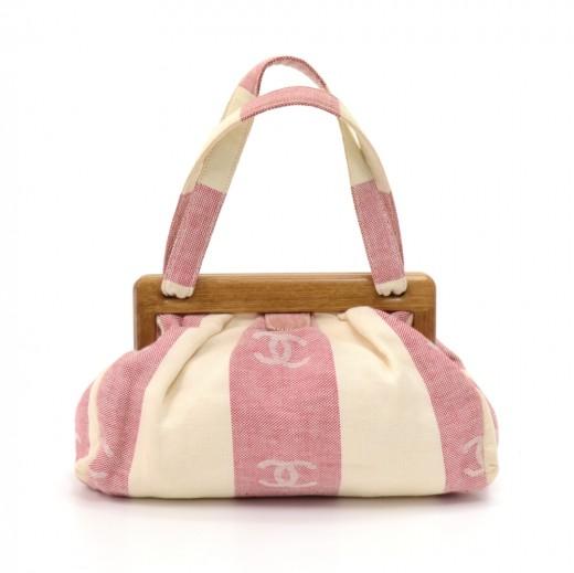 8548d5af4238 Chanel Wooden Frame Red   White Vertical Striped CC Logo Linen Handbag-Rare