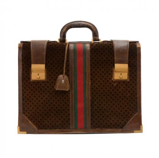 4d6f137e143 Gucci Vintage Gucci Dark Brown Suede   Leather GG Logo Briefcase