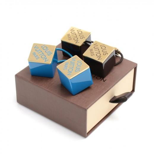 Louis Vuitton Blue   Black Logo Cube Hair Tie Accessory - Set of 2 c51b639ae06