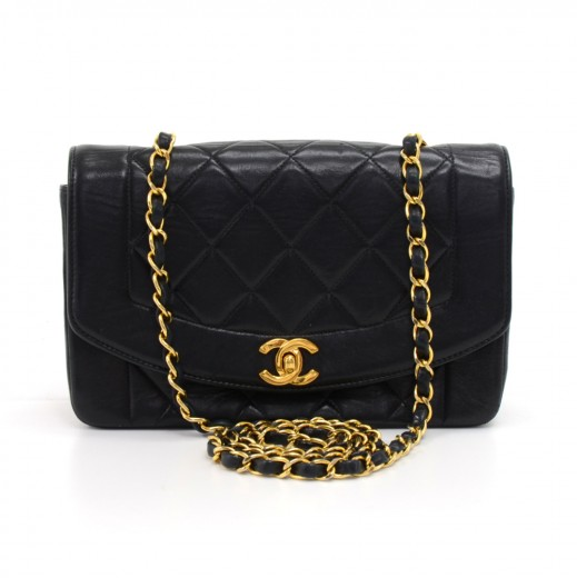 77055b1fcb23 Chanel Vintage Chanel Diana Classic Black Quilted Leather Shoulder ...