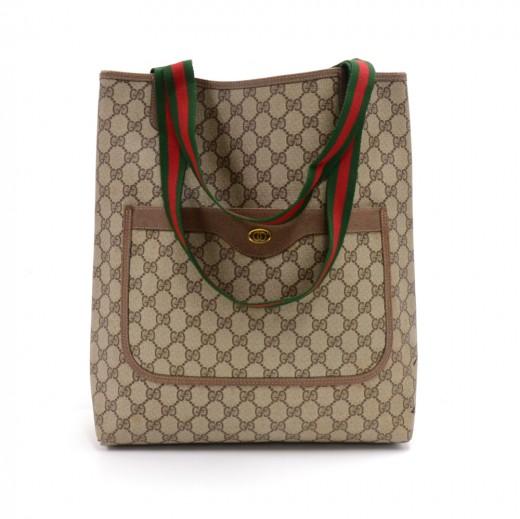 18567e50e0f Vintage Gucci Accessory Collection Beige GG Supreme Coated Canvas Tote Bag